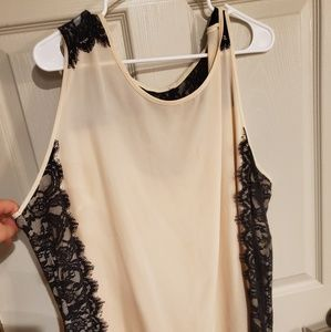 Cream Blouse with Black Lace Detail
